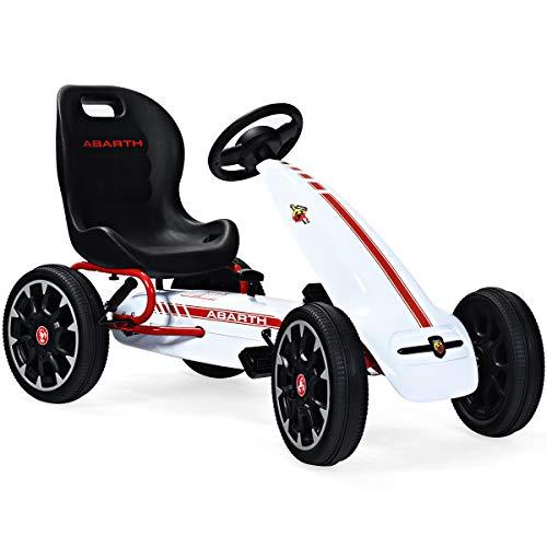 COSTWAY Gokart mit verstellbarem Sitz, Go Cart mit Handbremse und Gangschaltung, Tretauto, Pedal Gokart, Tretfahrzeug, Pedalfahrzeug, Kinderfahrzeug für Kinder von 3-8 Jahren (Weiß)