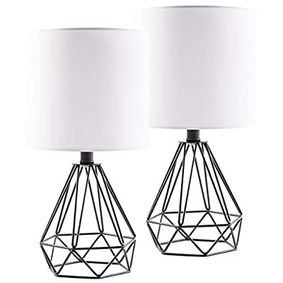 CO-Z Modern Table Lamps for Living Room Bedroom Set of 2, Black Metal Desk Lamp with Hollowed Out Base and White Fabric Shade, Bedside Lamps for Farmhouse Nightstand Accent