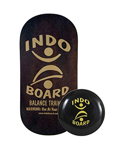 """INDO BOARD Rocker Balance Board with IndoFLO Cushion - Mahogany Brown - for Training and Standing Desks - Includes Rocker Deck, 14"""" IndoFLO Cushion and Instructional DVD (No Roller is Included)."""