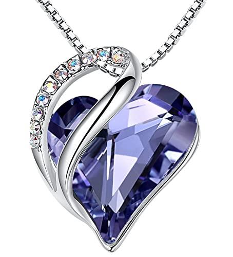 Leafael Infinity Collar con colgante de corazón de amor, tanzanita, púrpura, piedra natal de febrero, joyería de cristal, regalos para mujeres, tono plateado, 18 -+2-