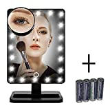 FLYMEI Vanity Makeup Mirror with Lights, Lighted Makeup Mirror with 10X Magnification, 4 AA Batteries, Touch Screen and Light Adjustable, 180° Rotation, Black