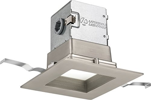 "Lithonia Lighting SQ 30K 90CRI BN M6 4JBK Canless Kit 4"" Baffle, Square, 3000 K, 90 CRI, Brushed nickel, 4-inch"