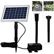 ECO-WORTHY Solar Fountain Water Pump Kit, 124 GPH Brushless Submersible Powered Pump with 5 W Solar Panel for Bird Bath, Small Pond, Garden Decoration, Pool, Patio, Lawn……