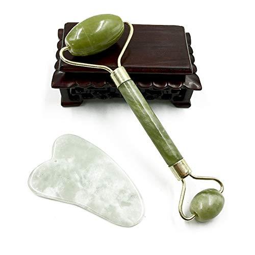 Preisvergleich Produktbild Jade Roller Gesichtsmassagegerät Anti Aging Gua Sha Massageschaber Set aus 100% Natural Jade Gesichtspflege Anti Aging Gua Sha 1 Set