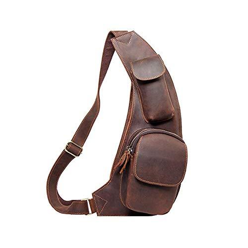 Leathario Herren Echtrindleder Brusttasche Brustbeutel Freizeittasche Crossbody Bag (dunkelkaffee)