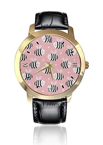 Bee Star Reloj de pulsera analógico clásico de cuarzo reloj de pulsera de cuero para hombres y mujeres
