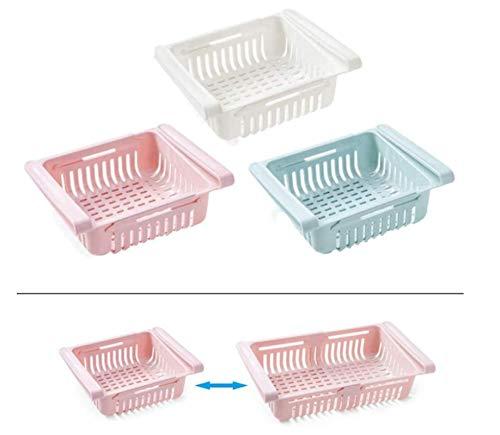 HJQL Organizador De Refrigerador, Canasta De Refrigerador con Cajón Oculto, Contenedores De Refrigerador Que Ahorran Espacio, 3 Piezas Azul + Blanco + Rosa