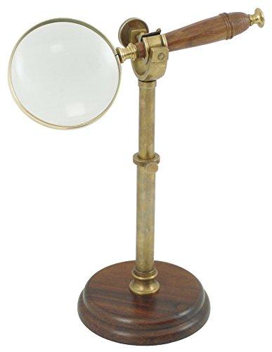 Générique 178 decoratief object vergrootglas op voet messing antiek/hout 25 x 14 x 14 cm