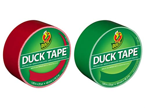 Duck Brand Color Duct Tape Christmas Holiday Combo 2-Pack, Red and Green, 1.88 Inches x 20 Yards Each Roll, 40 Yards Total