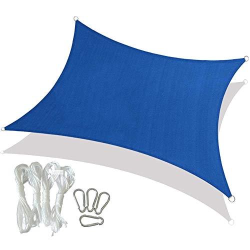 HotYou Toldo Vela de Sombra Prevención Rayos UV Solar protección Piel Resistente y Transpirable para Jardín,Patio,Rectángulo, Azul,4 * 4 M