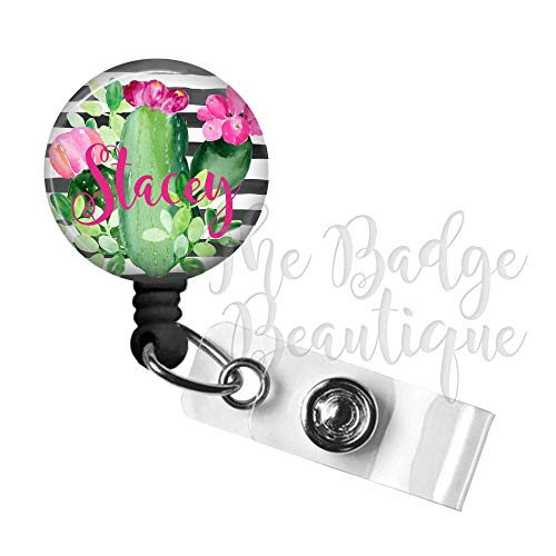 Cactus Badge Reel, Personalized Custom Retractable ID Badge Pull & Durable Swivel Alligator Clip, 34in Nylon Cord for Nurse RN MD PA Teacher Medical Staff, Holds Employee ID Tag