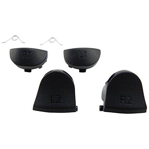 ToKa-Versand® - Controller tasten für Playstation 4 PS4 Button L1 L2 R1 R2 und 2x Halter 6in1 Schwarz