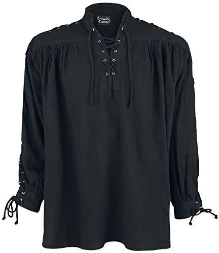 Leonardo Carbone Mittelalter-Schnürhemd mit Ösen Männer Hemd schwarz XL
