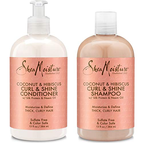 Shea Moisture Coconut & Hibiscus Curl & Shine Shampoo and Conditioner Set W/silk Protein and Neem Oil 13 Oz Bottles by Shea Moisture