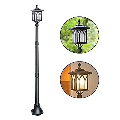 Kemeco ST4328B Solar Lamp Post Light LED Cast Aluminum Street Light for Outdoor Landscape Decor Pathway Driveway Patio Garden Yard Lawn