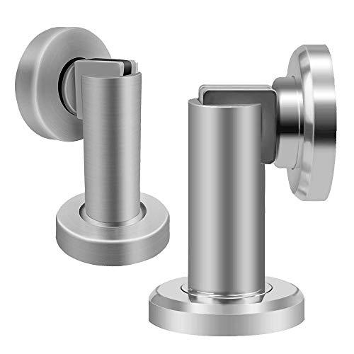 Tope magnético para puerta, tapón de acero inoxidable, soporte para puerta cromado, 2 unidades, resistente con imán para montaje en suelo en casa, oficina, uso comercial, níquel cepillado
