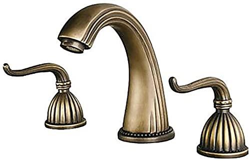 Grifo de lavabo de hotel de baño vintage de gama alta - Grifo de baño de tres orificios de latón antiguo con tres orificios/dos manijas Grifos bonitos para baño