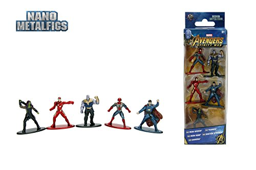 Jazwares–Nano metalfigs–Marvel Avengers Infinity War–Pack de 5Figuras de 4cm (Thanos Man, Iron Spider, Dr. Strange, Gamora), 99919