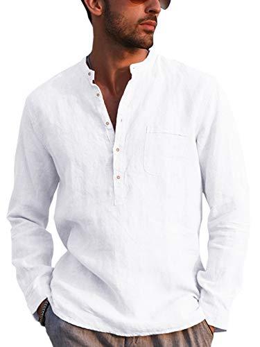 Gemijacka Hemd Herren Langarm Henley Leinenhemd Herren Freizeithemd mit Brusttasche Regular Fit Men Shirts, Weiß, L