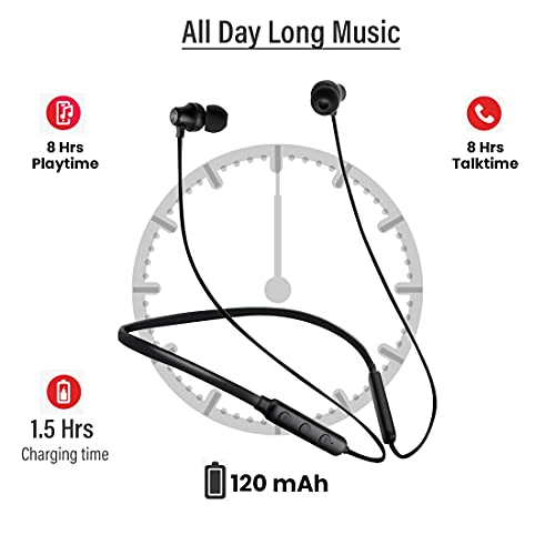 pTron Tangent Lite Bluetooth 5.0 Wireless Headphones with Hi-Fi Stereo Sound, 8Hrs Playtime, Lightweight Ergonomic Neckband, Sweat-Resistant Magnetic Earbuds, Voice Assistant & Mic - (Black)