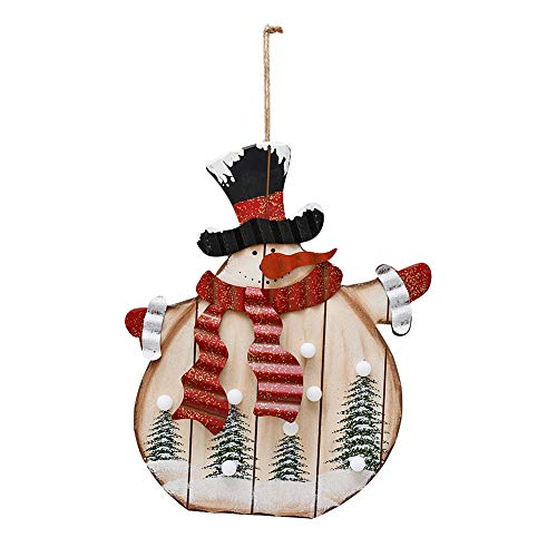 E-view Wooden Hanging Christmas Snowman Sign with LED Bulbs - Wood Decorative Plaques for Wall Door Xmas Tree Ornament Indoor Outdoor Holiday Decor (Snowman A)