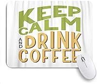 KAPANOU マウスパッド、ベージュブライト落ち着いて飲んでコーヒーの碑文手書きフレーズブルーカフェ おしゃれ 耐久性が良い 滑り止めゴム底 ゲーミングなど適用 マウス 用ノートブックコンピュータマウスマット