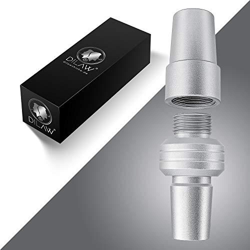 DILAW® Shisha Basic Kopfadapterset Kohleteller Adapter Original Shisha Kopfadapter Aluminium | Mit 18/8 Schliff! | Zweiteiliges Ersatzteil passt | Universell für alle Shishas, Silber