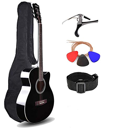 Kadence Frontier Series,Black Acoustic Guitar With Die Cast Keys Super Combo (Tuner,Capo,Bag,strap,strings and 3 picks)