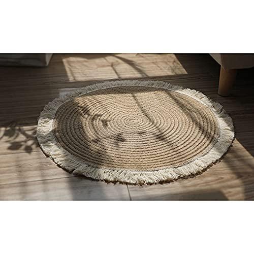 Duvets Alfombra Decorativa Redonda, 120 cm Yute + Borlas Blanca, Salón Yute...