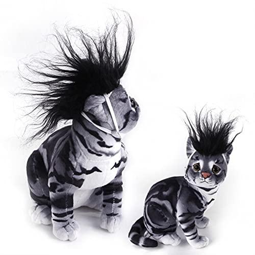 RENJIELI Gato Perro Vestir Moda Mascota Gato Peluca emulación Pelo Melena CabezaColorido Divertido Juguete Gato Accesorios Halloween Suministros
