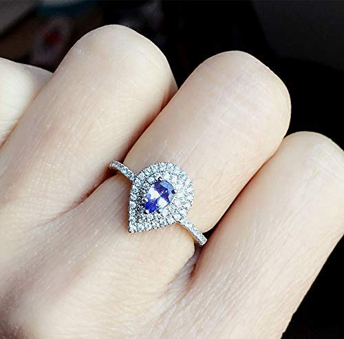Natural Tanzanite Engagement Super popular specialty store Ring White Gold Si Max 56% OFF Sterling Plated