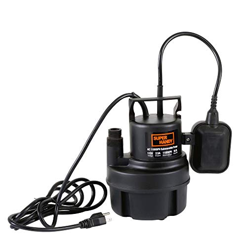 SuperHandy Submersible Sump Water Pump 1/3 HP 1100 GPH 3/4' GHT or 1' Inch NPT 18' Feet Head Lift 115VAC Electric Heavy Duty Transfer from Ponds Tanks Pools Fountains Basements Cellars (Renewed)