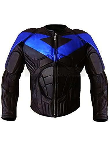 Mens Nightwing Black Protective Motorcycle Leather Jacket Biker Armor Motorbike Padded