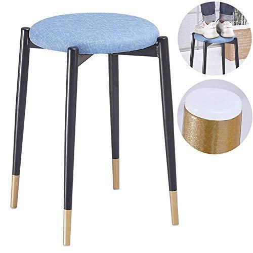 Sencillo Taburete redondo se puede apilar Taburete de comedor Hogar a prueba de agua Silla de comedor de metal impermeable Taburete bajo Una pequeña silla con reposapiés, aplicar al restaurante MISU