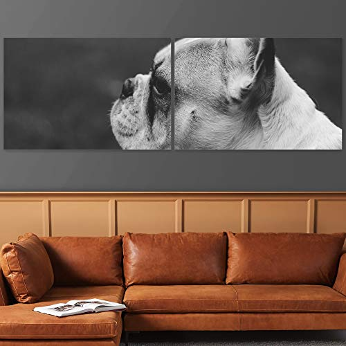 Color-Banner 2 Pieces Modern Canvas Wall Art Black and White French Bulldog Side Profile for Living Room Home Decorations - 24'x36' x 2 Panels