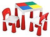 Juego de Mesa y 2sillas Liberty House Toys, plástico, Rojo y Blanco