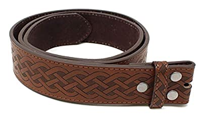 "Leather Belt Strap with Embossed Celtic Knot Weave Pattern 1.5"" Wide with Snaps (Brown-XL)"
