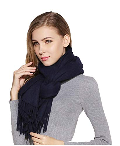 cashmere Grand châle de luxe en laine véritable douce (bleu marine)