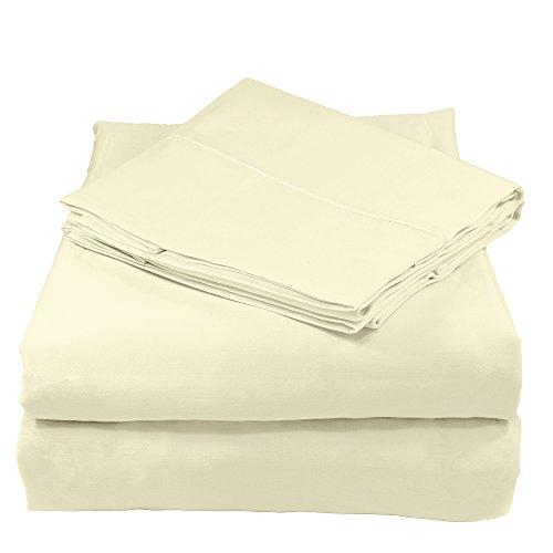 Whisper Organics 100% Organic Cotton Bed Sheet Set, 400 Thread Count - GOTS Certified (Queen, Natural)