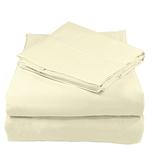 Whisper Organics 100% Organic Cotton Bed Sheet Set, 400 Thread Count - GOTS Certified (King, Natural)
