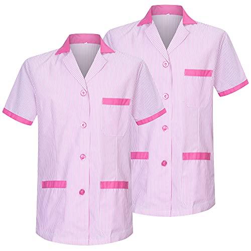 MISEMIYA - Pack*2-Camisa Camisetas Mujer Medica Mangas Cortas Uniforme Laboral Sanitarios Hospital Limpieza Ref.T820 - L, Rosa