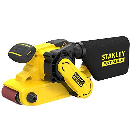 Stanley FatMax Bandschleifer FMEW204K (1.010 Watt, 75 x 533 mm Schleifband, Drehzahlvorwahl, werkzeugloser Schleifbandwechsel, integrierte Staubabsaugung, inkl. Schleifband und Koffer)