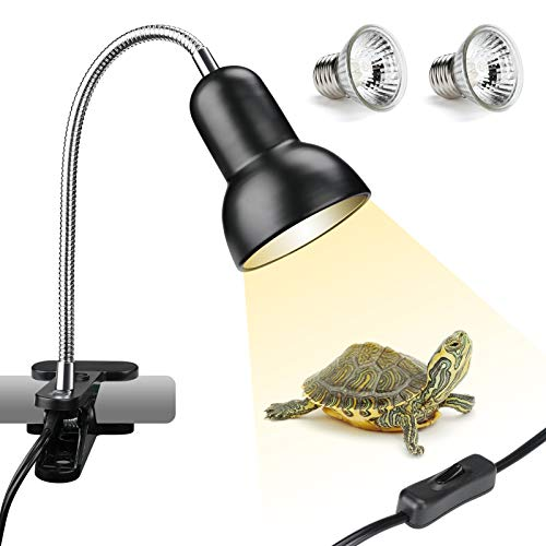 SDYXJ 25/50W UVA UVB Reptile Heat Lamp with 2 Bulbs, Basking Spot Hanging Lamp with Clip & Switch, Pet Heating Lamp for Turtle Tank Habitat Reptile Lizard Snake(E27, 110V)