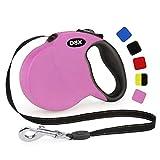 DDOXX Correa Extensible Perro, Reflectante, Retráctil | Muchos Colores & Tamaños | para Perros Pequeño, Mediano y Grande | Accesorios Gato Cachorro | S, 4 m, 10 kg, Rosado
