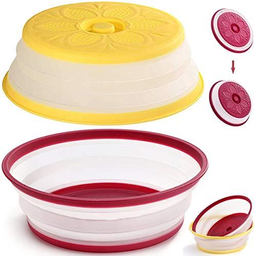 Fiyuer 2PCS coperchio per microonde antischizzi pieghevole Piastra Copertura per Alimenti per Frutta e Verdura Ripiegabile