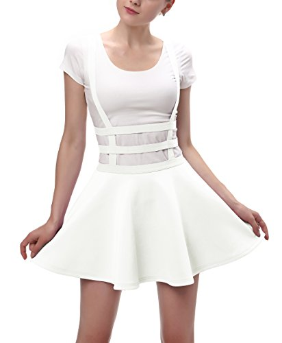 Urban CoCo Womens Elastic Waist Pleated Short Braces Skirt...