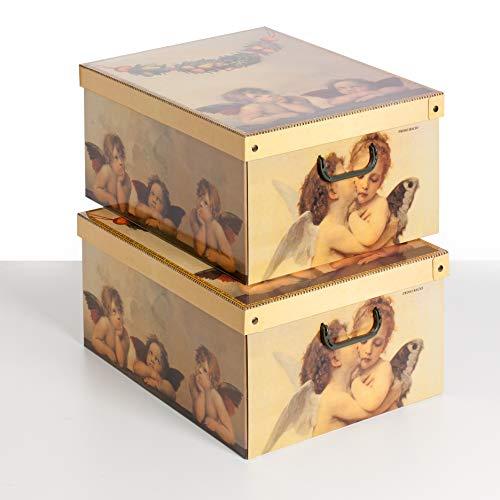 Kanguru la coperta con le maniche SET MIT 2 STÜCK Aufbewahrungsbox aus Karton, groß, Modell ENGEL AMORINI, 623 AMOAZ