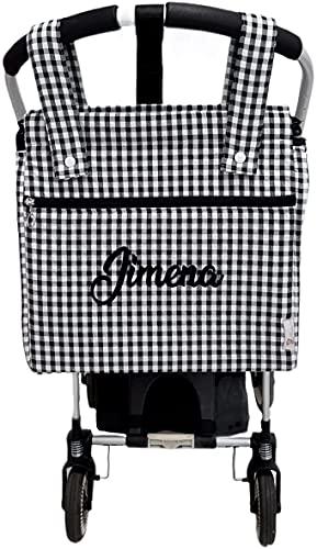 Bolso panera o talega para carrito de bebé personalizado con el nombre bordado. Vichy (Negro)