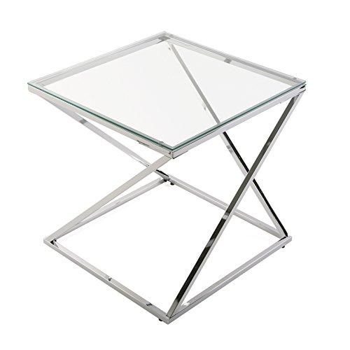 Versa Trento Mesa Auxiliar para el Salón, la Habitación o la Cocina. Moderna Mesilla Baja, Medidas (Al x L x An) 51 x 51 x 51 cm, Cristal y Metal, Color Plateado