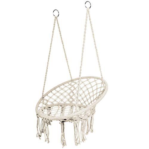 Iso Trade Hängesessel Hängebank Korbschaukel zum Aufhängen Belastbarkeit max. 120 kg Weiß Schwarz 5884, Farbe:Weiß